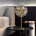 6 Bulbs Flower Table Lamp Contemporary Clear Crystal Reading Book Light in Gold