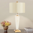 1 Head Living Room Table Lamp Modern White Desk Light with Cylinder Fabric Shade