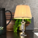Tapered Drum Nightstand Lamp Contemporary Fabric 1 Head Reading Book Light in Beige