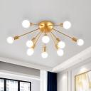 Sputnik Living Room Semi Flush Light Metal 12 Lights Modernist Flush Mount Lamp in Brass