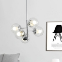 Clear Glass Globe Pendant Chandelier Simple 5 Lights Silver Starburst Hanging Ceiling Lamp