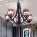 Grey Glass Bud Chandelier Pendant Lamp Modernism 5-Head LED Ceiling Hang Fixture with Metal Slim Panel Arm