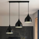 Black Onion Cluster Pendant Light Simple 3-Bulb Metal Hanging Ceiling Lamp with Linear Canopy