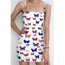 Gorgeous Ladies Sleeveless All Over Butterfly Printed Mini Sheath Cami Dress in White