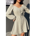 Leisure Fancy Ladies Long Sleeve V-Neck Button Down Solid Color Short A-Line Dress