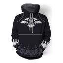 Automata Anime Cosplay Mens Long Sleeve Drawstring 3D Patterned Loose Black Hoodie with Pocket
