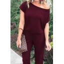 Leisure Solid Color Short Sleeve Drop Shoulder Ankle Length Cuffed Tapered Fit Jumpsuit for Ladies