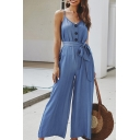Popular Womens Sleeveless Surplice Neck All Over Floral Pattern Bow Tie Cuffs Cut Out Side Long Cami Jumpsuit