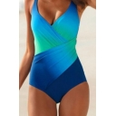 Stylish Ladies Sleeveless Surplice Neck Criss Cross Color Block Slim Fit Swimsuit