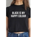 Popular Roll-Up Sleeve Crew Neck Letter BLACK IS MY HAPPY COLOR Relaxed T Shirt in Black