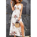 Sexy Pretty Girls Sleeveless Bow Tied Front All Over Floral Printed High Cut Maxi A-Line Cami Dress in White