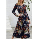 Gorgeous Ladies Long Sleeve V-Neck All Over Flower Printed High Cut Long A-Line Dress