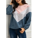 Cool Blue Long Sleeve Round Neck Chevron Print Sequins Velvet Patchwork Relaxed Pullover Sweatshirt