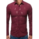 Sexy Basic Guys Long Sleeve Lapel Collar Button Down All Over Leaf Bronzing Curved Hem Fitted Shirt