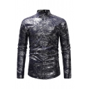 Unique Mens Long Sleeve Stand Collar Button Down Floral Bronzing Slim Fit Party Shirt