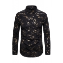 Chic Street Guys Long Sleeve Lapel Collar Button Down Paisley Printed Slim Fitted Shirt