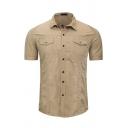 Mens Casual Short Sleeve Lapel Collar Button Down Flap Pocket Button Down Slim Fit Cargo Shirt in Khaki
