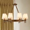 8/10 Lights Tapered Shade Chandelier Classic Metal and Fabric Hanging Light in Black/Bronze for Restaurant