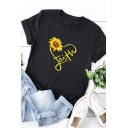 Casual Roll-Up Sleeve Round Neck Letter FAITH Sunflower Graphic Loose T Shirt for Girls