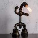 Black 1-Bulb Task Light Industrial Metallic Robot Pipe Table Lamp with Plug-In Cord