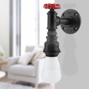 1 Light Exposed Bulb Sconce Industrial Black Finish Metallic Wall-Mount Lamp with Water Valve Handle