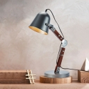 Bell Iron Desk Light Farmhouse 1 Bulb Study Room Table Lamp in Black with Swing Wood Arm