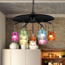 Jar Colorful Glass Ceiling Light Art Deco 10-Light Restaurant Pendant Chandelier in Black/Rust/Gold with Flat Metal Top