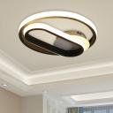 Acrylic Ring Flush Mount Contemporary LED Black Flush Lighting in Warm/White Light for Bedroom