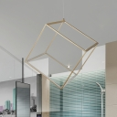 Cubic Frame Aluminum Ceiling Light Simple Silver/Gold LED Chandelier Pendant Lamp in Warm/White Light