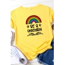 Cute Girls Roll Up Sleeve Round Neck Letter BE A UNICORN Rainbow Pattern Slim Fitted Tee Top