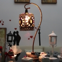Rust Cylinder Task Light Decorative Metal 1 Head Small Desk Lamp with Gooseneck Arm