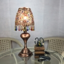 Metal Carved Night Table Lamp Decorative 1 Head Task Lighting in Brass with Urn Base