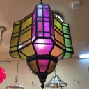 Traditional Multifaceted Pendant Lamp 1 Bulb Metal Ceiling Hang Fixture in Purple for Restaurant