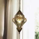 Hollow Metal Ceiling Pendant Light Art Deco 1 Head Corridor Suspension Lighting in Brass