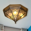 3 Bulbs Faceted Ceiling Light Fixture Arabian Brass Metal Flush Mount Lamp for Bedroom