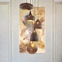 5 Lights Hollow Cluster Pendant Light Arabic Black/Silver/Brass Metal Hanging Lamp for Restaurant