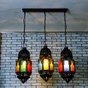 Black 3 Heads Multi Light Pendant Vintage Metal Lantern Ceiling Lamp for Restaurant