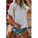 Chic Women's Plain Roll-Up Sleeve Surplice Neck Chiffon Relaxed T-Shirt
