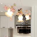White Glass Blossom Chandelier Lamp Traditional 3 Lights Living Room Suspension Light