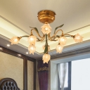 Brass Flower Semi Flush Mount Country Metal 9 Bulbs Living Room LED Close to Ceiling Lamp