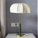 Shaded Table Lamp Nordic Fabric 1 Head Task Light in White/Green with Round Metal Base