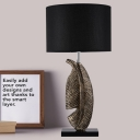 Contemporary 1 Head Task Lighting Black Drum Night Table Lamp with Fabric Shade