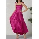 Classy Ladies' Sleeveless Bow Tied Shoulder Maxi Pleated A-Line Dressing Gown in Purple