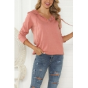Casual Women's Long Sleeve Button Front Relaxed Fit Hoodie in Red