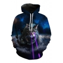 Fashion Hooded Galaxy Cat 3D Printed Long Sleeve Hoodie Sweatshirt
