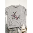 Colorful Flower Printed Long Sleeve Round Neck Loose Fit Pullover Sweatshirt