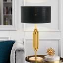1 Head Study Nightstand Lamp Modernism Black Task Lighting with Drum Fabric Shade