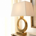 Contemporary Trapezoid Nightstand Lamp Fabric 1 Head Reading Book Light in Gold