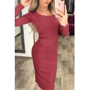Elegant Fancy Ladies' Long Sleeve Round Neck Solid Color Long Bodycon Work Dress