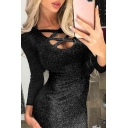 Sexy Bling Bling Solid Color Long Sleeve Scoop Neck Hollow Out Long Bodycon Club Dress for Ladies